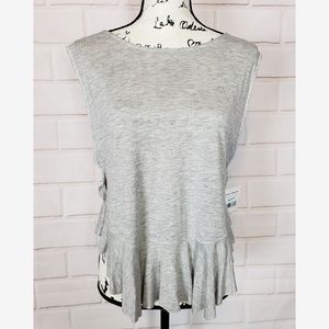 We The Free Gray Ruffle Flowy Tank Top Size S